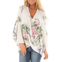 Summer Hot Popular Floral Pattern V-Neck Ruffle Long Sleeve Loose Asymmetric Hem Blouse Top