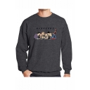 Hot Popular Figure Printed Round Neck Long Sleeve Mens Casual Loose Fit Pullover Sweatshirts