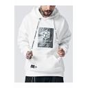 Hot Fashion Geometric Box Printed Long Sleeve Casual Loose Drawstring Hoodie for Guys