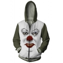 New Stylish Popular Clown 3D Printed Colorblock Long Sleeve Green and White Zip Up Hoodie