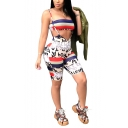 Womens Cool White Letter Printed Bandeau Top with Suspender Bermuda Shorts Skinny Fit Two-Piece Set