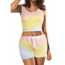 Normal Ombre Sleeveless Round Neck Crop Tank with Sports Shorts Two-piece Set for Women