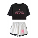 New Sale BTS Idol Casual Letters Print Short Sleeve Crop Tee with Elastic Dolphin Shorts Two Piece Set