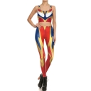 Hot Popular Cartoon Ultraman Cosplay Costume Print Scoop Neck Sleeveless Crop Tops Mid Waist Skinny Pants Co-ords