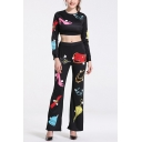 Ladies Sexy Cartoon Print Patterns Long Sleeve Round Neck Midriff Tops Elastic Pants Co-ords