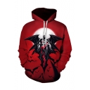 Popular Fashion Comic Figure Bat 3D Printed Long Sleeve Red Loose Fit Hoodie