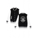 Basic Simple Stand Collar Long Sleeve Letter HOGWARTS Print Single-Breasted Baseball Jacket