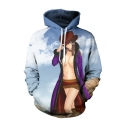 Hot Fashion Comic Figure Sexy Girl 3D Printed Long Sleeve Loose Fit Blue Pullover Hoodie