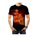 New Stylish Fire Skull Moto Print Basic Round Neck Short Sleeve Black Tee