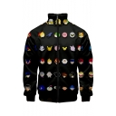 New Fashion Funny Comic Printed Stand Collar Long Sleeve Zip Up Fitted Black Jacket