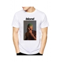 Mens Summer New Arrival Letter BLOND Character Printed Short Sleeve Round Neck White Graphic T-Shirt