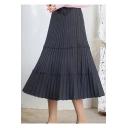 Women's Elastic High Waist Pure Color Knit Ruffle Mid-Length A-Line Skirt