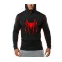 Hot Fashion Spider Printed Black Slim Fit Long Sleeve Sports Hoodie for Men