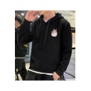 Unisex Popular Fashion Cartoon Totoro Letter Printed Long Sleeve Casual Pullover Hoodie