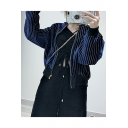 White Pinstripe Printed Long Sleeve Pleuche Zipper Cropped Jacket Coat