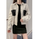 Lady Fashionable Colorblocked Flap Pockets Lapel Collar Single Breasted Long Sleeve Oversized Jacket