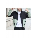 Men's Stylish Color Block Letter Print Back Long Sleeve Zip Up Stand Collar Casual Loose Jacket