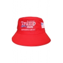 Trendy President Trump 2020 Letter Flag Embroidery Cotton Election Bucket Hat