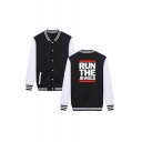Hot Popular Letter RUN THE JEWELS Print Colorblock Rib Stand Collar Long Sleeve Single Breasted Baseball Jacket