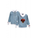 Hot Fashion Halloween Skull Printed Ripped Long Sleeve Button Down Hooded Denim Jacket Coat