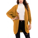Fashion Simple Plain Batwing Sleeve Open Front Cardigan Coat for Women