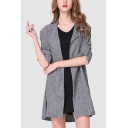 Gray Lapel Collar Open Front Plain Longline Casual Trench Coat