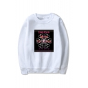 New Stylish Letter COME OVER Graphic Printed Round Neck Long Sleeve Unisex Pullover Sweatshirts