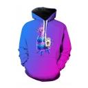 Hot Popular Cartoon Unicorn 3D Printed Ombre Purple Long Sleeve Drawstring Pullover Hoodie