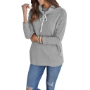 Hot Popular Gray Plain High Neck Long Sleeve Pullover Sweatshirt With Pockets