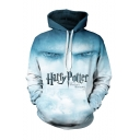 Harry Potter Letter Figure Eye 3D Printed Long Sleeve Blue Loose Pullover Hoodie