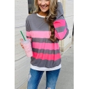 Women's Color block Stripe Print Long Sleeve Round Neck Sweatshirt