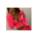 New Fashion Simple Basic Plain Long Sleeve Pink Zip Up Cropped Hoodie