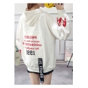 New Popular Letter Print Long Sleeve Drawstring Loose Pullover Hoodie With Pocket