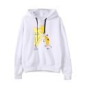 Funny Banana Printed Long Sleeve Loose Casual White Pullover Hoodie