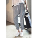 Womens New Trendy Striped Mid Drawstring Waist Loose Harem Pants with Pockets