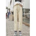 Women's Trendy High Waist Plain Loose Straight Leg Pants With Pockets