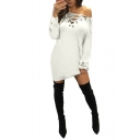 Womens Sexy V-Neck Long Sleeve Tied Knit Plain Sheath Mini Dress