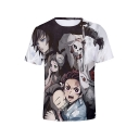 Summer Comic Character 3D Print Short Sleeve Round Neck T-Shirt