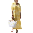 Womens New Fashion V-Neck Batwing Sleeve Dyed Sashes Loose Swing Maxi Dress