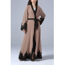 New Stylish Womens Long Sleeve Lace Panelled Bow-Tied Waist Floor Length Maxi Cardigan Dress
