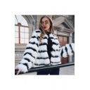 Female Fashionable Black & White Striped Print Faux-Fur Coat Short Jacket