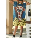 New Trend Artistic style Character Print Round Neck Short Sleeve Contrast Piping High Low Midi Shift T-Shirt Dress