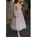 Womens New V-Neck Long Sleeve Wavy Silver Flare Midi Dress