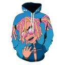 Funny Cartoon Figure 3D Printed Long Sleeve Blue Sport Loose Hoodie
