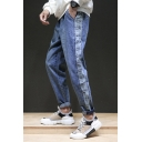 Men's New Fashion Vintage Letter Printed Side Blue Relaxed Fit Casual Jeans