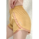 Hot Popular Elastic Waist Contrast Trim GYMANT Letter Fake Two Piece Dolphin Hem Mesh Shorts