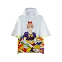 Hot Fashion Kpop Cartoon Character Printed Short Sleeve Hooded Casual Loose Tee