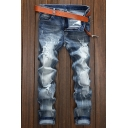 Men's Hot Fashion Classic Plain Denim Washed Regular Fit Trendy Frayed Ripped Jeans