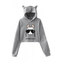 Hot Popular Long Sleeve NO PROB-LLAMA Letter Sheep Printed Cropped Hoodie