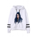 White Long Sleeve Striped Sleeve Cartoon Bleeding Figure Face Printed Casual Loose Leisure Pullover Hoodie